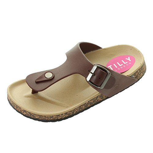Tilly London Bali Womans Moulded Footbed Slip On Flat Cork Summer Sandals Mules Wedges Shoes Flip Flops Comfort Sizes 3 4 5 6 7 8 (4 UK, White)