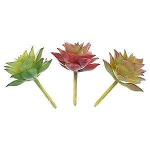 BCP 3 Pieces Small Green Artificial Plant Land Lotus Landscape Fake Flower Arrangement Garden Decor Home Office Decoration 37