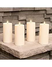 Infinity Wick Collection- Outdoor Ivory Candles, Set of 4 and Assorted Size