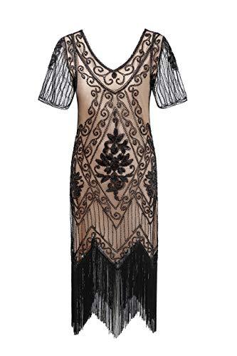 Metme Women's Roaring 1920s Gatsby Dresses Short Sleeve