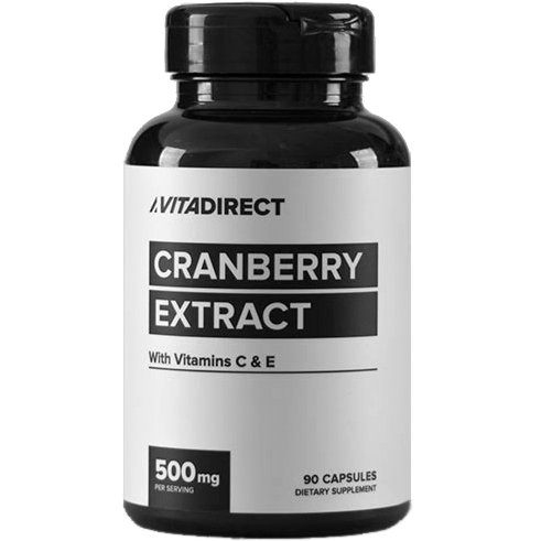 Vitadirect Premium Cranberry Pills + Vitamin C & Vitamin E Supplement, 500 mg, 90 Vegetarian Capsules, High Quality Supplements, Made in The USA