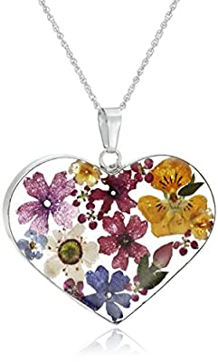 Pressed-Flower Heart Pendant Necklace
