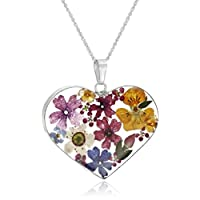 Sterling Silver Pressed Flower Heart Pendant Necklace