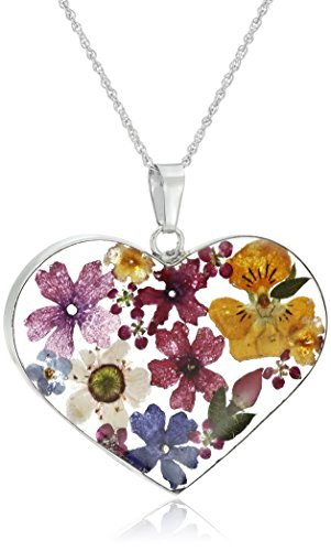 Sterling Silver Multicolored Pressed-Flower Heart Pendant Necklace, - Flower Resin Necklace