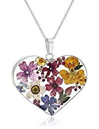Sterling Silver Multicolor Pressed-Flower Heart Pendant Necklace, 18""