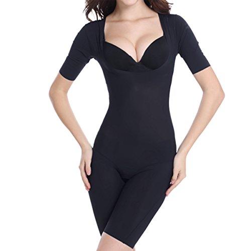 Shymay Women's Full Body Shaper Thigh Slimmer Firm Control Shapewear Bodysuit, Black, Tag size 2XL=US size 6-8 (Arms Bodysuit)