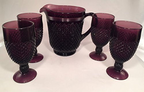 Addison Pattern Glass Pitcher Set - American Made (5 Piece Set, Amethyst) by Rosso Glass
