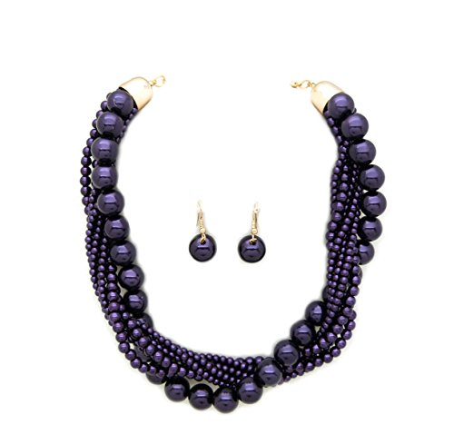Fashion 21 Women's Twisted Multi-Strand Simulated Pearl Statement Necklace and Earrings Set (Purple Tone)