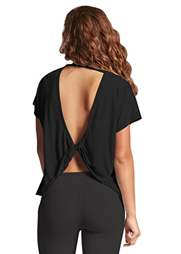 (Mippo Womens Sexy Backless Shirt Stretchy Cute Open Back Shirts Knotted Sport Loose Fit Summer Trendy Clothes Gym Sport Wear Crops Tops for Junior Black M)