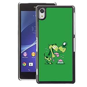 A-type Arte & diseño plástico duro Fundas Cover Cubre Hard Case Cover para Sony Xperia Z2 (Dog Cartoon Green Pet Dachshund)