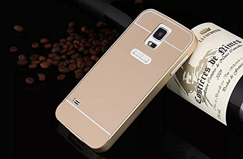 Inspirationc® Luxury Ultra Thin Metal Protective Aluminum Frame Bumper Phone Cover Case + PC Hard Back Case for Samsung Galaxy S5 SV i9600--Gold