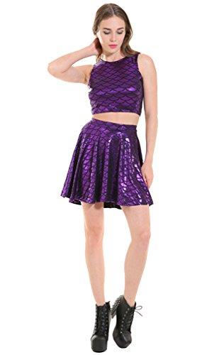 Femme jupe Pièces Loisir Mini Acvip robe Courte Ensemble De Été Poisson Jupe Violet Deux Motif Patineuse Fille Ecailles daz1q0