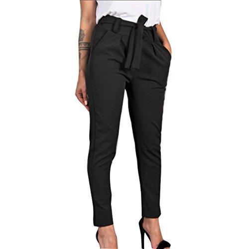 Femme Taille Moyenne Pantalons Longs Mode Slim Fit Pantalon avec Poches Confortable Taille lastique Leggings Casual Pantalons Noir