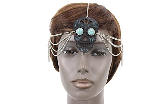Katy Perry Blue Hair Costumes - TFJ Women Head Piece Fashion Headband Silver Metal Head Chain Black Skeleton Skull Turquoise Blue Beads