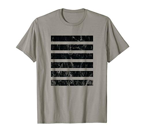 Horizontal Stripe Vintage Distressed Black Graphic T-Shirt
