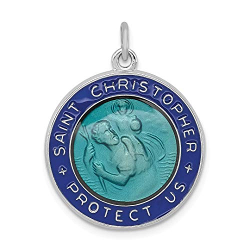 925 Sterling Silver Enameled Saint Christopher Medal Pendant Charm Necklace Religious Patron St Fine Jewelry Gifts For Women For Her from ICE CARATS