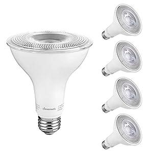 DEWENWILS 4-Pack PAR30 LED Bulb, Dusk to Dawn Photocell Sensor, 850 Lumen, 5000K Daylight Long Neck Flood Light, 11W…