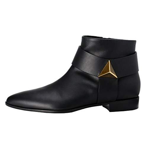 Giuseppe Zanotti Design Dames Lederen Enkellaarsschoenen Zwart