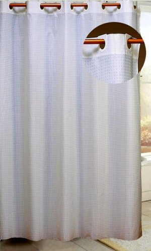 Carnation Home Fashions EZ On Fabric Shower Curtain, White Check