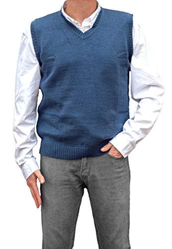 - TINKUY PERU - Peruvian Alpaca Wool - Mens Knit V-Neck Pullover Sweater Classic Vest - Steel Blue (Medium)