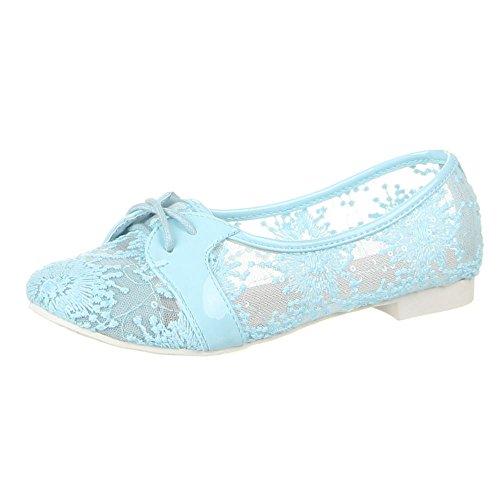 Ital-Design Damen Schuhe, A-103, Halbschuhe Hellblau