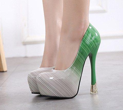 YCMDM Donne SandalsShallow Bocca gradiente impermeabili degli alti talloni pattini della principessa punta aperta banchetti Shoes , green , 35