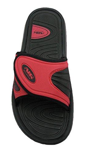 Air Confortable Pour Les Hommes De La Douche De Plage Sandales Pantoufles W / Sangle Réglable En Couleurs Chic Noir / Rouge