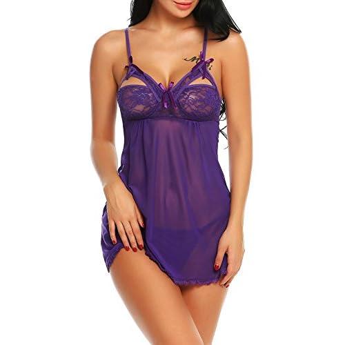 21d378e1f40d Buena ADOME Mujer Babydoll Mini Vestido Pijama Busto Abierto Lazo ...