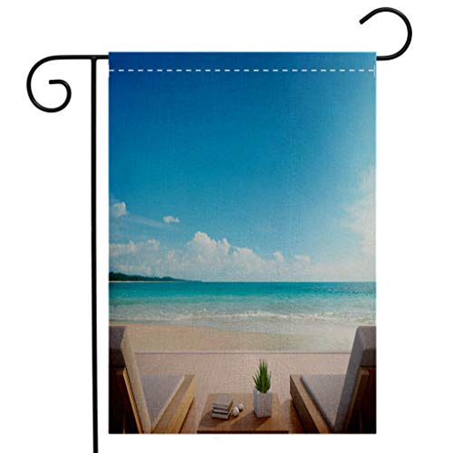 - Custom Double Sided Seasonal Garden Flag Sea view terrace and beds in modern luxury beach house with blue sky background Lounge chairs on Garden Flag Waterproof for Party Holiday Home Garden Decor