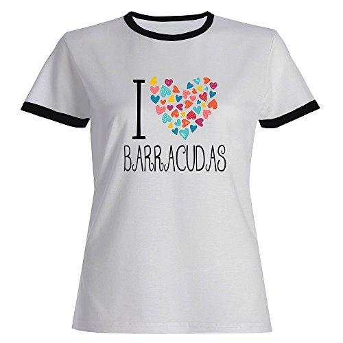 Barracuda Ringer - Idakoos I Love Barracudas Colorful Hearts - Animals - Ringer Women T-Shirt
