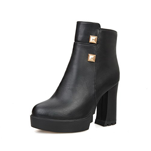 AllhqFashion Womens PU Blend Materials High-Heels Boots with Slipping Sole and Rivet Black VaPZQCq