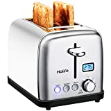 HoLife Toaster, 2 Slice Prime Rated Toasters [LCD Dispaly] Stainless Steel Bagel Toaster (6 Bread Settings, Bagel/Defrost/Reheat Function, 1.5' Wide Slots, Removable Crumb Tray, 900W, Tiffany Blue)