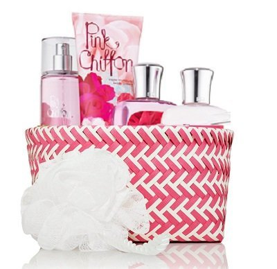 "Bath & Body Works Signature Collection"" Pink Chiffon"" Fragrance Mist ~ Body Lotion ~ Shower Gel ~ Triple Moisture Body Cream & Shower Sponge Gift Set Basket"