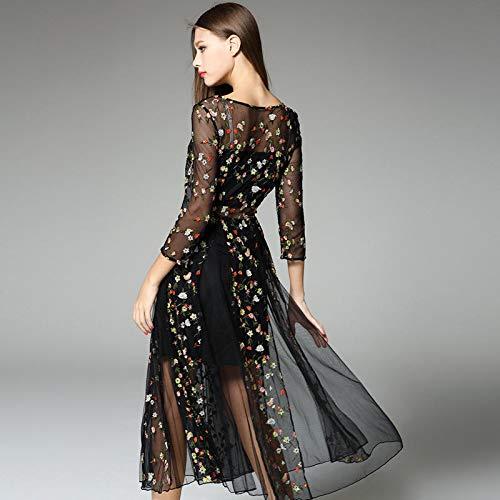 Nueve Puntos Acampanado Cuello Flores Black Mujer Con Bordado Malla De Y V En Vestido EFBPw7nq1