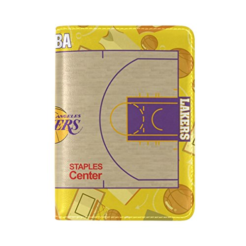 PU Leather Passport Holder Cover Case with Lakers Basketball Court Travel One Pocket