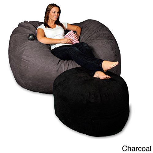Micro Suede Bean Bag Lounger (Theater Sacks LLC 5-foot Memory Foam Micro Suede Beanbag Chair Lounger Charcoal)