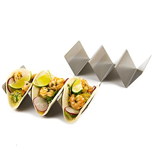 Set Of 4 Stylish Stainless Steel Taco Holders  Restaurant Style Taco Stands Hold Up To Three Tacos Each  Dishwasher Safe