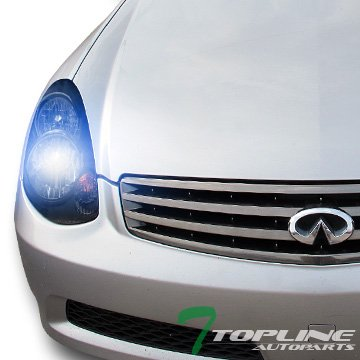 (10000K HID XENON JDM BLACK HEAD LIGHTS LAMPS SIGNAL KS 03-04 INFINITI G35 4D/4DR)