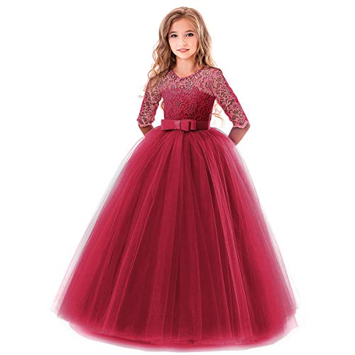 Flower Girl Long Princess Dress Vintage Lace Maxi Gown Kids Formal Wedding Bridesmaid Pageant Tulle Dresses Little Big Girls Elegant Bowknot Dance First Communion Birthday Prom Dresses Wine Red 7-8Y ()
