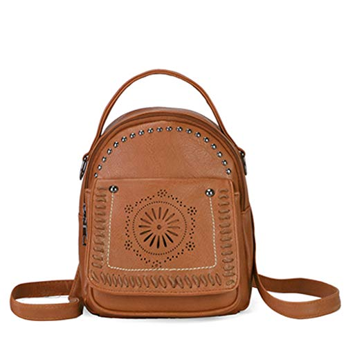 Pengy Women's Leather Backpack Laptop Hollow Out Travel School Rucksack Bag Elegant Casual Daypacks Outdoor Sports Backpack