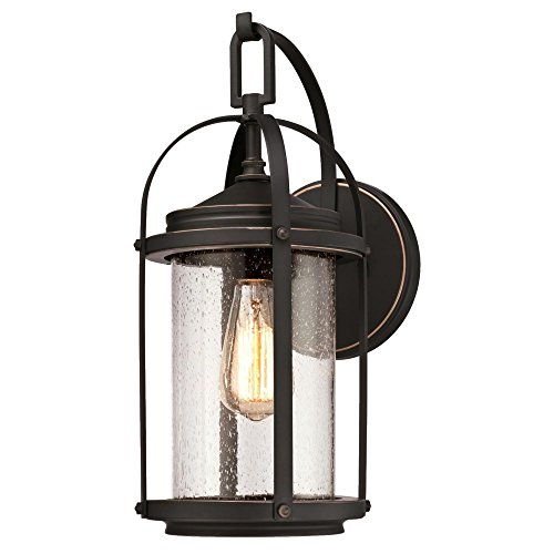 Westinghouse 6339300 Grandview One-Light Outdoor Wall Fixture, Oil Rubbed Bronze Finish with Highlights and Clear Seeded Glass (Bronze Exterior Wall Light Fixture)