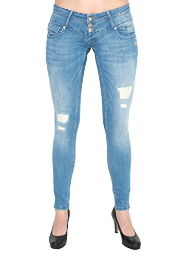 Lost in Paradise - Jeans - Slim - Femme Bleu Midblue Destroyed