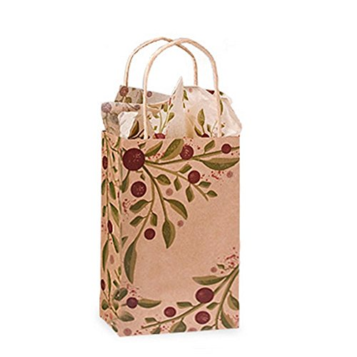 Tuscan Harvest Paper Shopping Bags - Rose Size - 5 1/2 x 3 1/4 x 8 3/8in. - Pack of 200 by NW