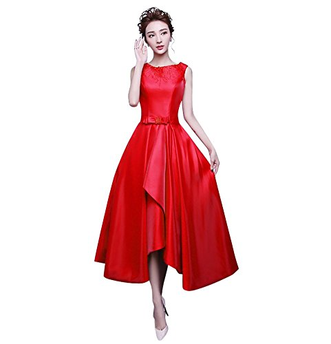 Junior's Homecoming Cocktail Long Prom Satin Dresses Red Drasawee Beaded Dress Party qUB7dwqx
