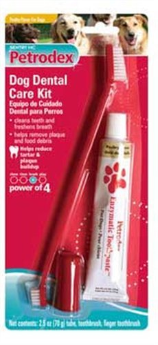 Petrodex Dog Dental Care Kit, Poultry Toothpaste with 2 Toothbrushes