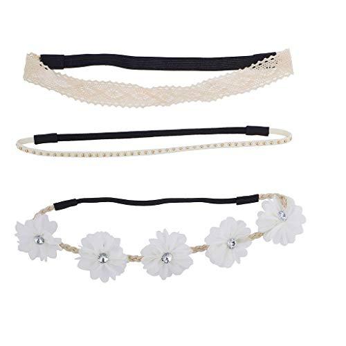 Lux Accessories Crochet Suede Studded Flower Rhinestone Headband Set 3pcs