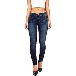 Wax Denim Women's Juniors Basic Stretchy Fit Skinny Jeans (11, Dark Denim)