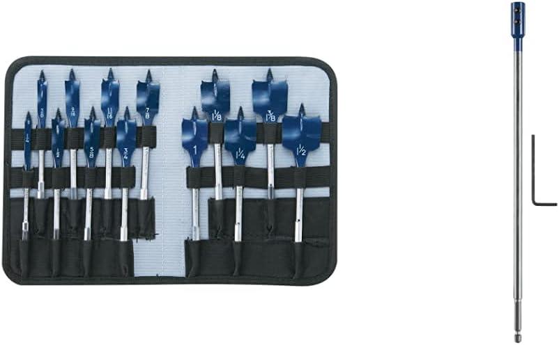 Bosch DSB5013P 13-Piece Daredevil Spade Bit Set in Pouch,Blue & Daredevil DSBE1012 12-Inch Drill Bit Extension, Blue