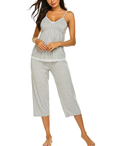 Ekouaer Women's Sleepwear Bamboo Jersey Cami and Capri Pajama PJ Set Grey XXL