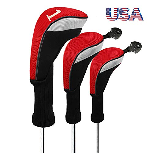 (Golf Club Head Covers Woods Driver Fairway Hybrid 3 Set, Headcovers Men Women Long Neck 1 3 5 7 X with Interchangeable Number Tag, Fit Nike Ping Mizuno Titleist 460CC (Red, Driver&Fairway&Hybrid))